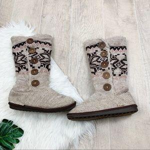 Muk Luks Aztec Fair Isle Button Winter Sock Boots